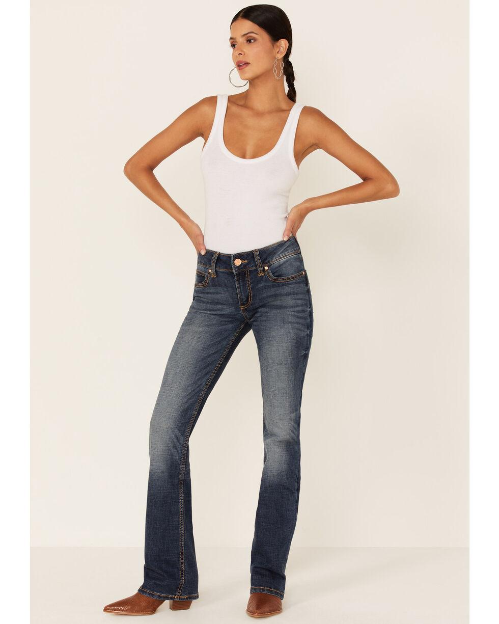 Wrangler Women's Mae Premium Patch Boot Cut Jeans, Blue, hi-res