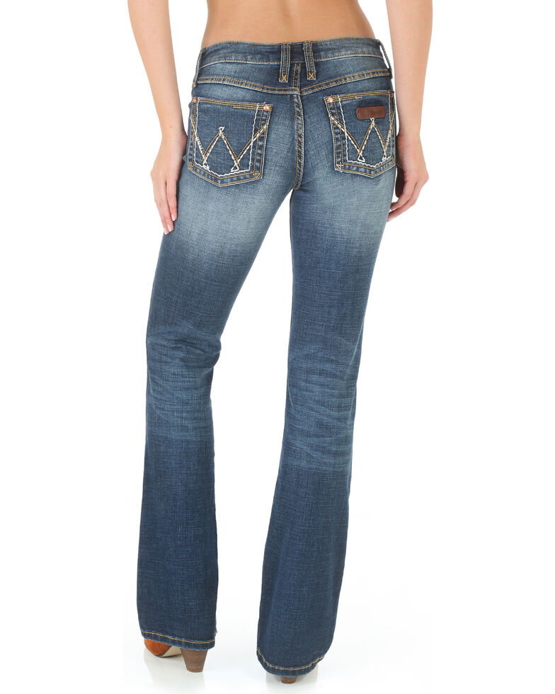 9e394787 Zoomed Image Wrangler Women's Mae Premium Patch Boot Cut Jeans, Blue, hi-res