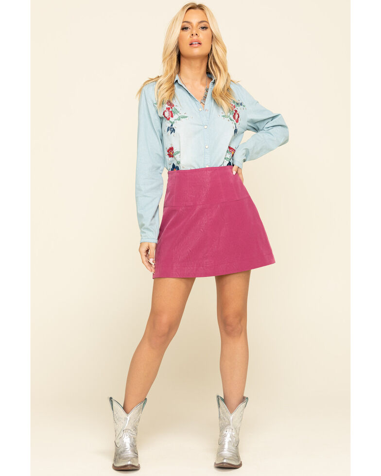 Free People Women's Days in The Sun Suede Skirt, Fuscia, hi-res