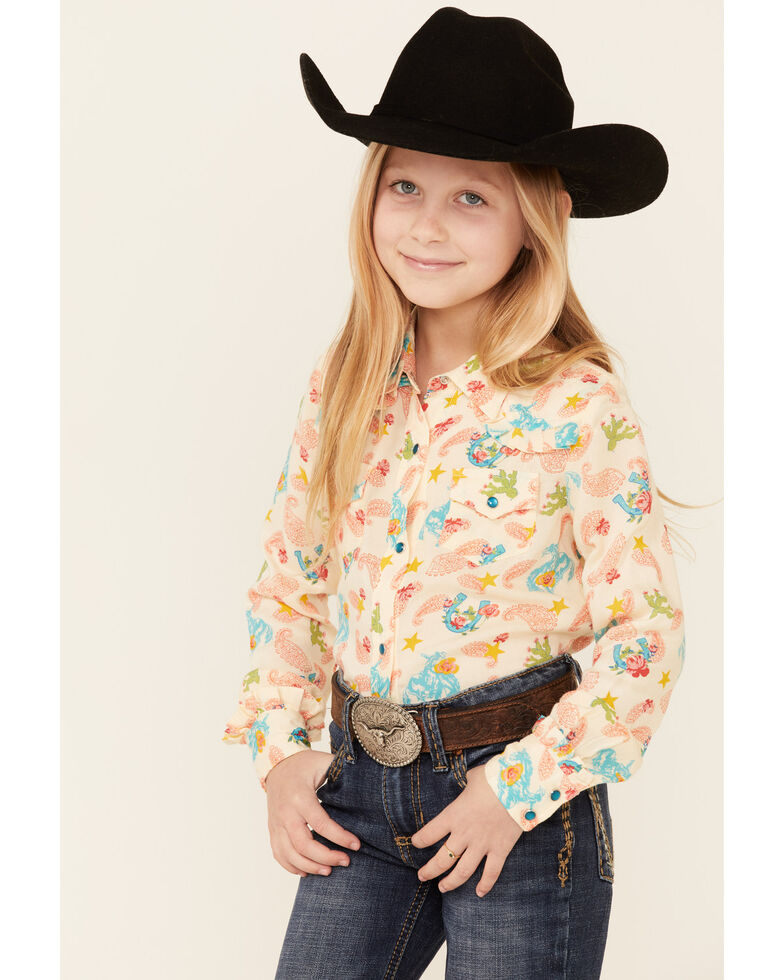 Roper Girls' Cream Cowgirl Print Long Sleeve Snap Western Shirt , Yellow, hi-res