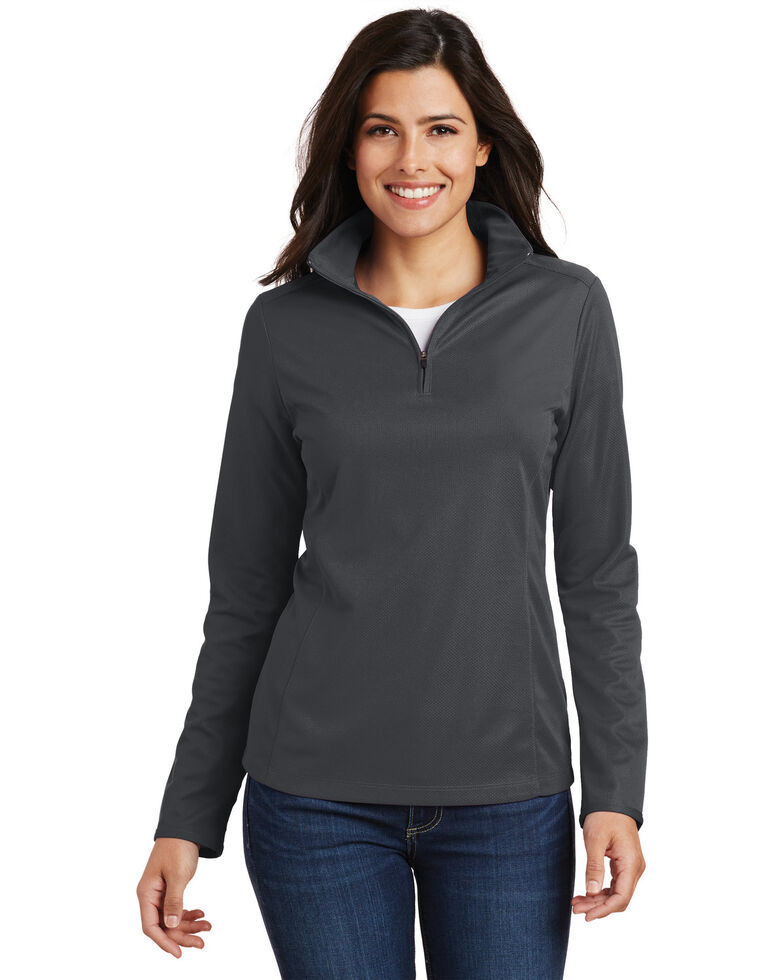 Port Authority Women's Battleship Grey 3X Pinpoint Mesh 1/2 Mesh Pullover -Plus, Grey, hi-res