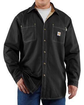 Carhartt Men's Flame Resistant Canvas Shirt Jacket, Black, hi-res
