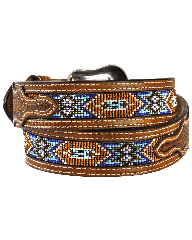 Nocona Belt Co. Men's Aztec Beaded Belt, Tan, hi-res