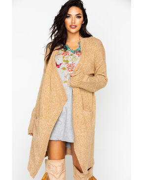 Mystree Women's Draped Open Front Duster Cardigan , Tan, hi-res