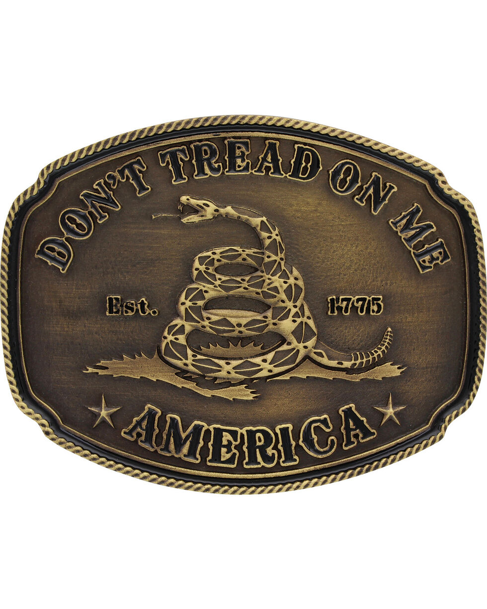 Montana Silversmiths Men's Don't Tread on Me Attitude Buckle, Gold, hi-res