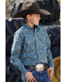 Cinch Boys' Green Paisley Print Long Sleeve Western Shirt , Green, hi-res