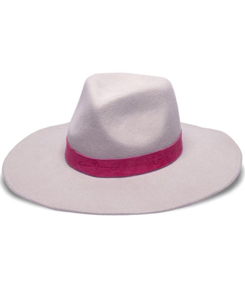 Nikki Beach Women's Breanna Embossed Suede Band Wool Felt Western Hat, Rose, hi-res
