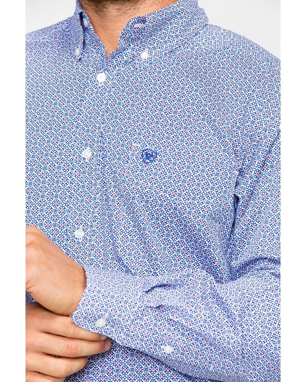 Ariat Men's Gascon Stretch Print Long Sleeve Western Shirt , White, hi-res