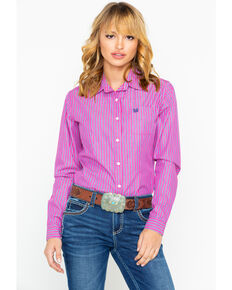 Panhandle Women's Stripe Long Sleeve Western Shirt, Pink, hi-res
