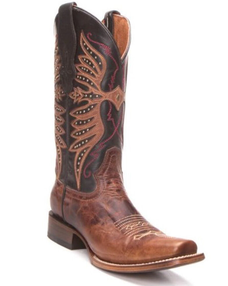 Circle G Women's Brown Embroidery Western Boots - Square Toe, Black/brown, hi-res