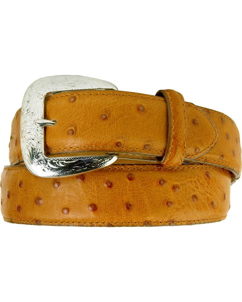 Tony Lama Men's Ostrich Embossed Leather Belt, Cognac, hi-res