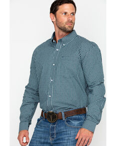 Cody James Core Men's Small Checkered Plaid Long Sleeve Western Shirt, Navy, hi-res