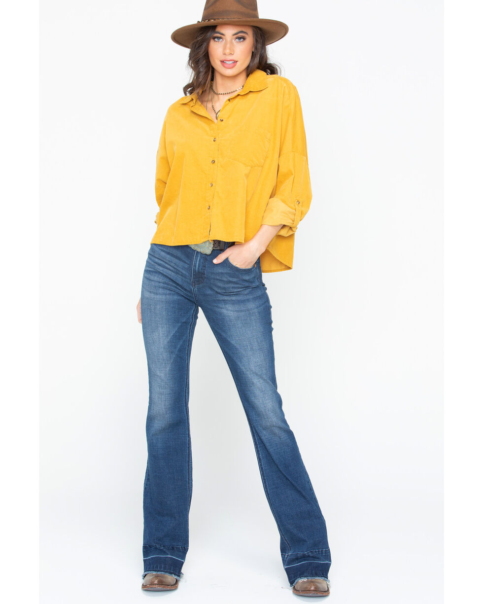 White Crow Women's Corduroy Button Down Shirt , Dark Yellow, hi-res