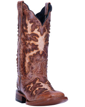 Dan Post Women's Cognac Rustic Inlay Western Boots - Square Toe, Brown, hi-res