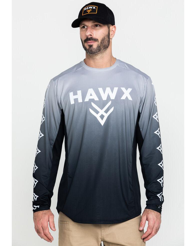 Hawx Men's Grey Camo Moto Chest Logo Performance Long Sleeve Work T-Shirt , Dark Grey, hi-res
