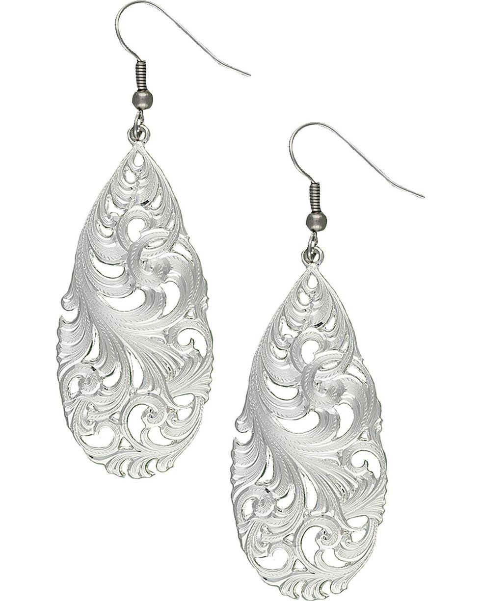 Montana Silversmiths Filigree Teardrop Earrings, Silver, hi-res