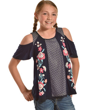 Shyanne Girls' Floral Cold Shoulder Top, Navy, hi-res