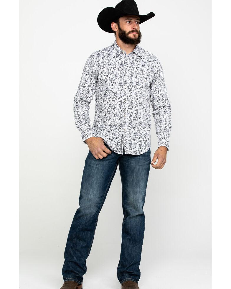 Rock & Roll Cowboy Men's Crinkle Washed Print Long Sleeve Western Shirt , White, hi-res
