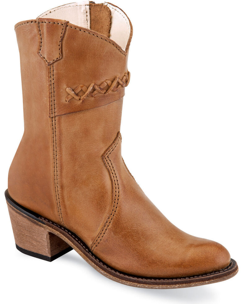 Old West Girls' Tan Stitched Short Booties - Round Toe , Tan, hi-res