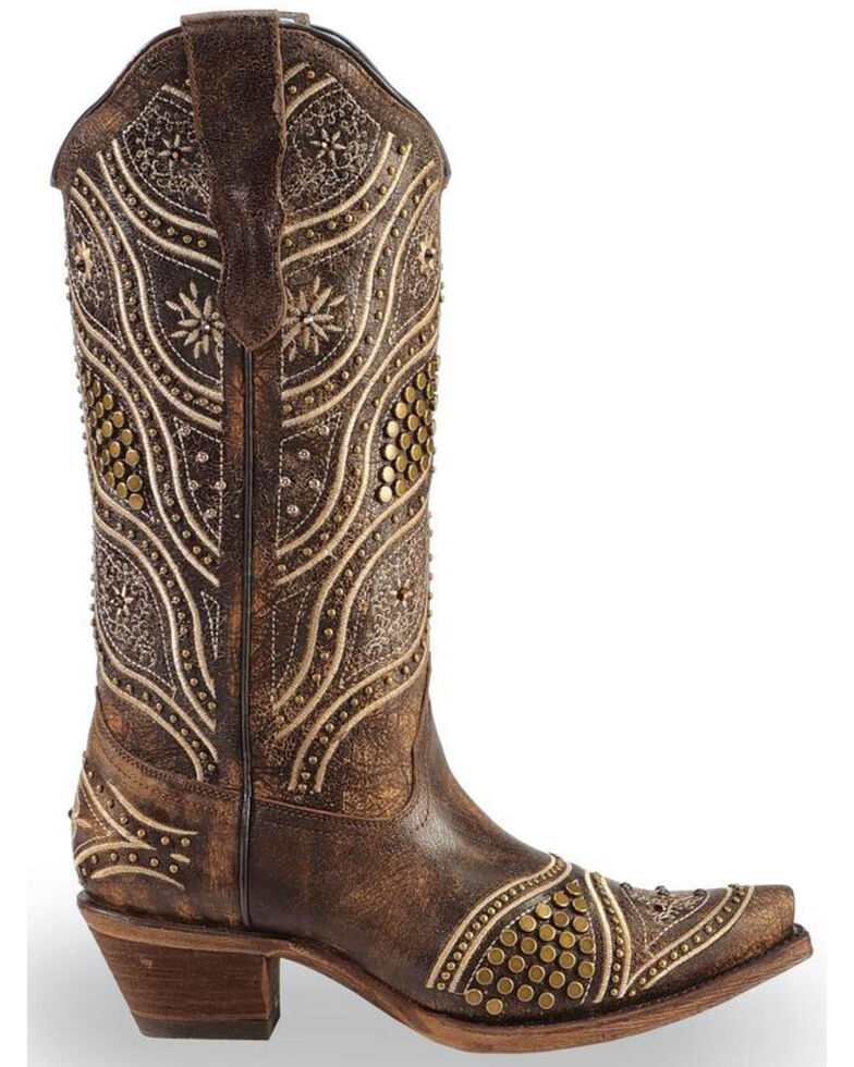 Corral Women s Honey Embroidery Studded Cowgirl Boots - Snip Toe ... 6b27ff5ca2