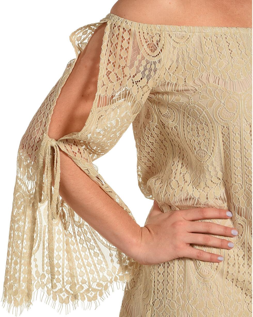 Young Essence Women's Lace Off The Shoulder Dress, Beige/khaki, hi-res
