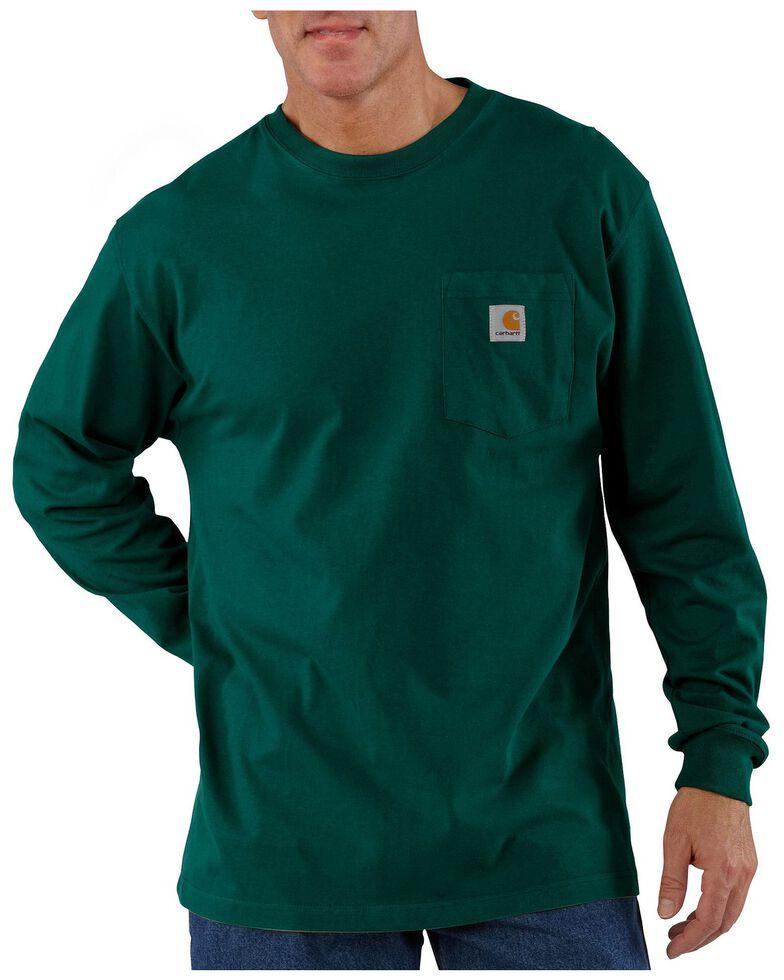 Carhartt Men's Pocket Long Sleeve Work Shirt - Tall, Green, hi-res