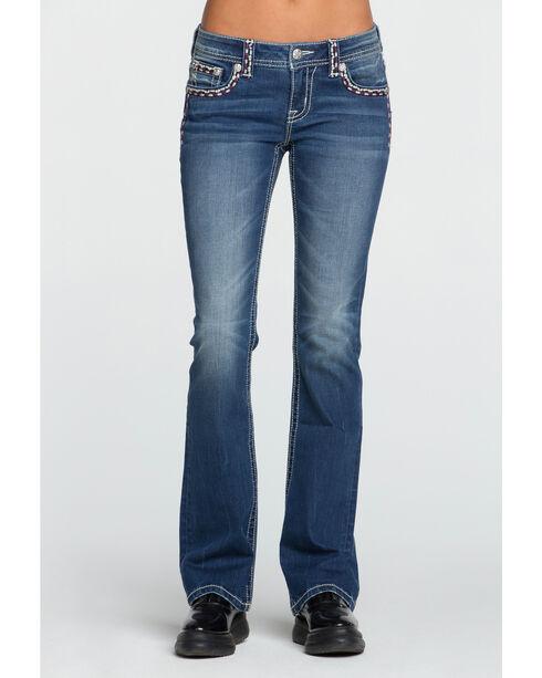 Miss Me Women's Accent Stitching Jeans - Boot Cut, Dark Blue, hi-res