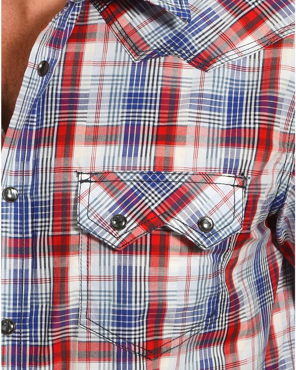 Cody James® Men's Americana Plaid Short Sleeve Shirt, Grey, hi-res