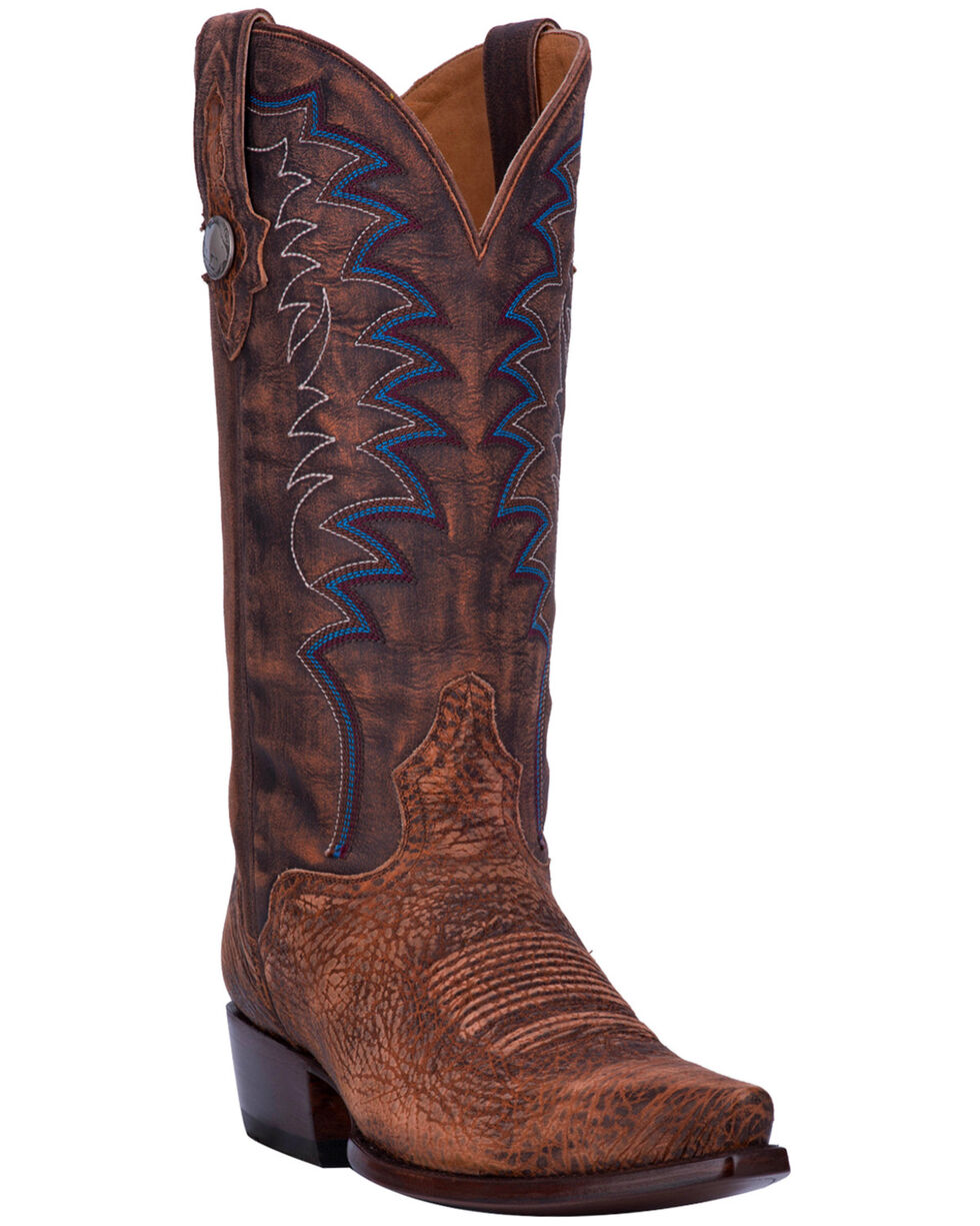 El Dorado Men's Handmade Brandy Sanded Shoulder Cowboy Boots - Snip Toe, Brown, hi-res