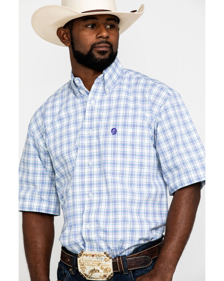 George Strait by Wrangler Men's Turquoise Med Plaid Short Sleeve Western Shirt - Tall , Turquoise, hi-res