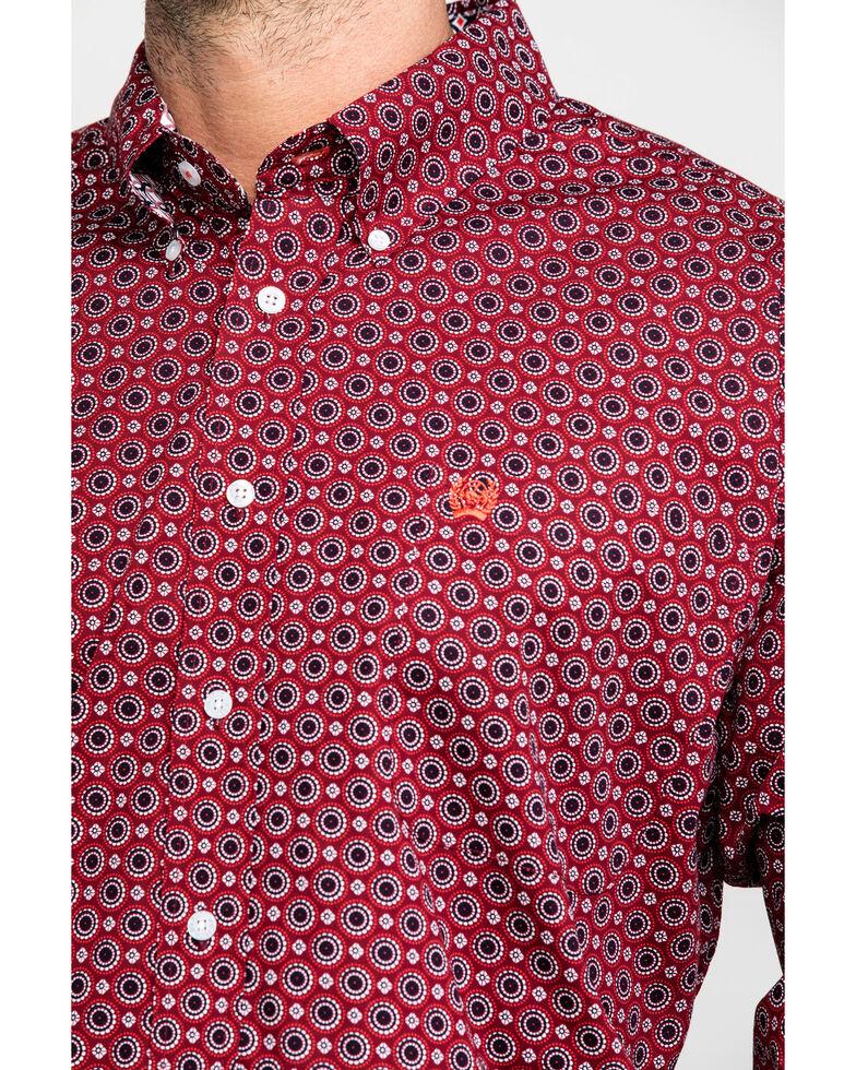 Cinch Men's Burgundy Large Geo Print Long Sleeve Western Shirt , Burgundy, hi-res