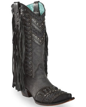 Corral Women's Studded Side Fringe Western Boots, Black, hi-res