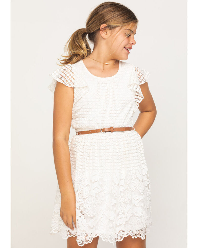 Shyanne Girls' Ivory Flutter Sleeve Lace Dress , Ivory, hi-res