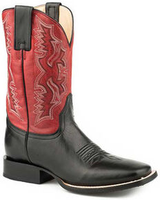 Roper Men's Tony Western Boots - Square Toe, Black, hi-res