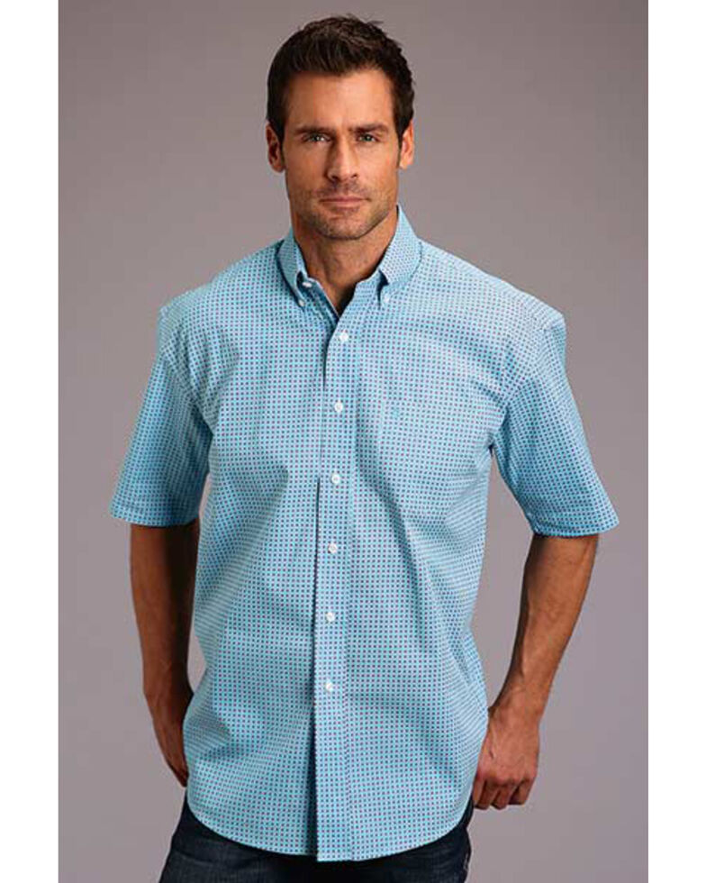 Stetson Men's Blue Circuit Geo Print Short Sleeve Western Shirt , Blue, hi-res