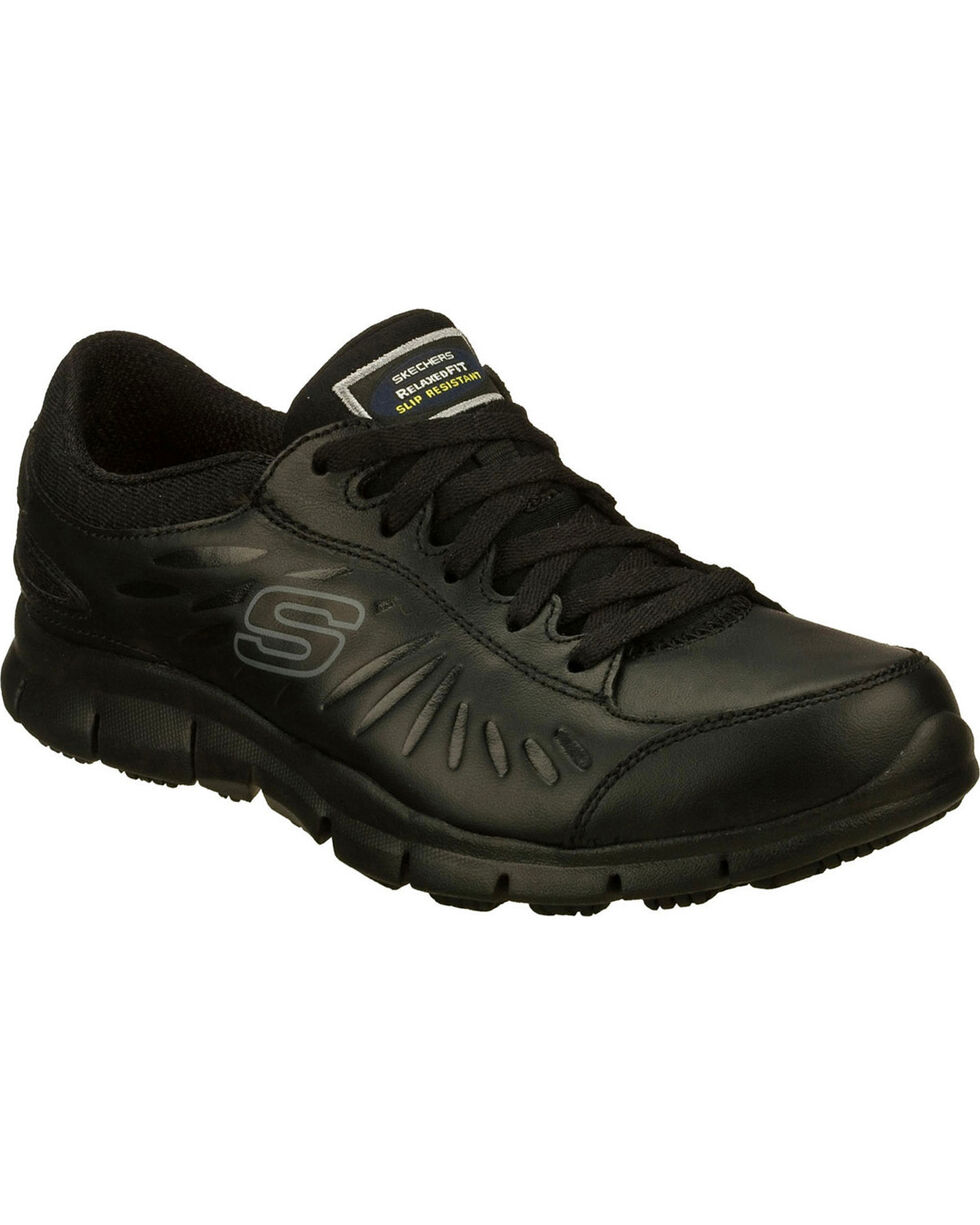 Skechers Women's Black Eldred Slip Resistant Work Shoes , Black, hi-res