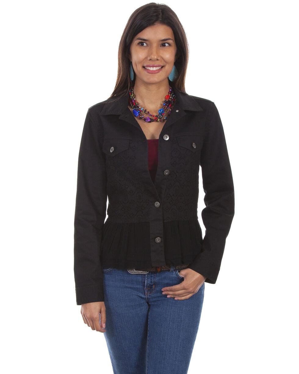 Scully Women's Georgette Ruffle Denim Jacket, Black, hi-res