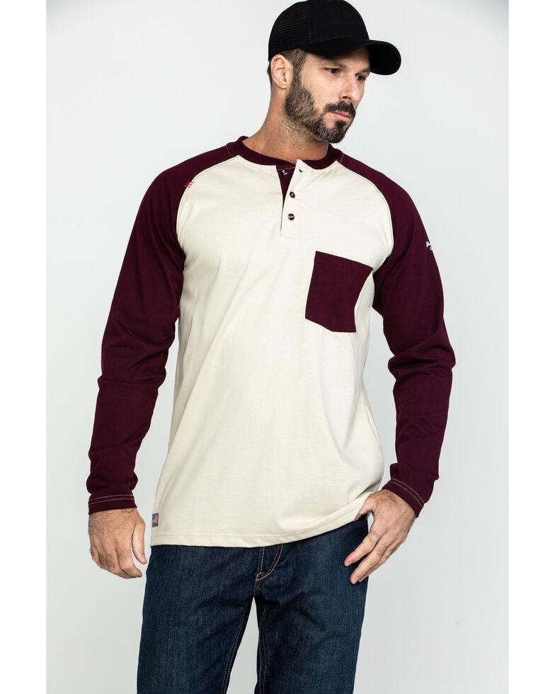 Ariat Men's Sand FR Baseball Henley Work Shirt , Sand, hi-res