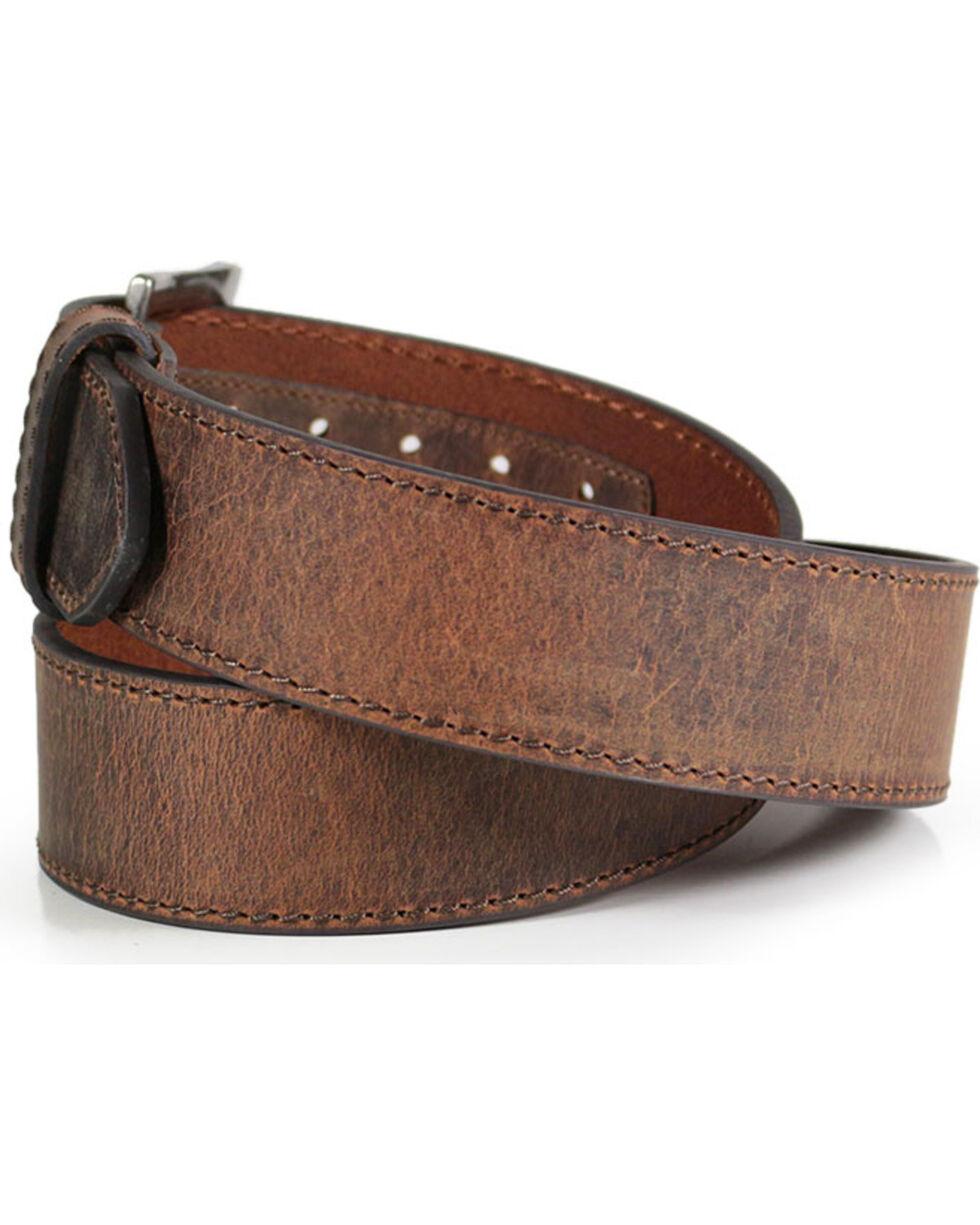 American Worker® Men's Wide Leather Belt, Brown, hi-res