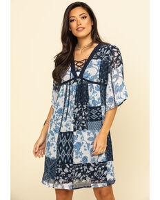 Studio West Women's Blue Patchwork Dress, Blue, hi-res