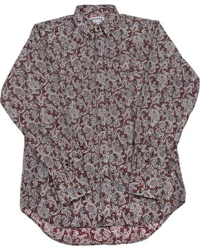 Schaefer Outfitter Men's Burgundy Frontier Paisley Western Snap Shirt, Burgundy, hi-res
