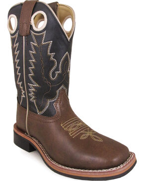 Smoky Mountain Boy's Blaze Western Boot - Square Toe, Brown, hi-res