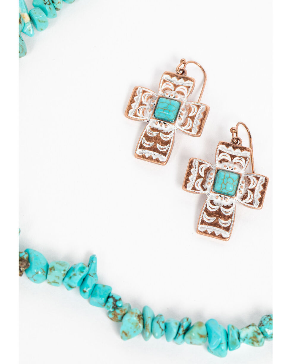Shyanne Women's Wanderlust Chunky Turquoise Cross Beaded Necklace Set, Tan/copper, hi-res