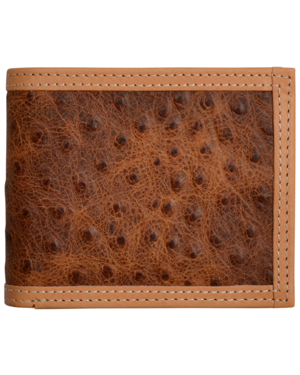 3D Men's Brown Rustic Ostrich Print Leather BiFold Wallet , Brown, hi-res