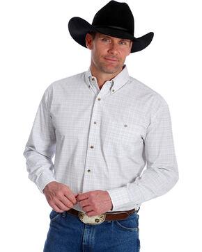 George Strait by Wrangler Men's Plaid Long Sleeve Western Shirt, Pink, hi-res