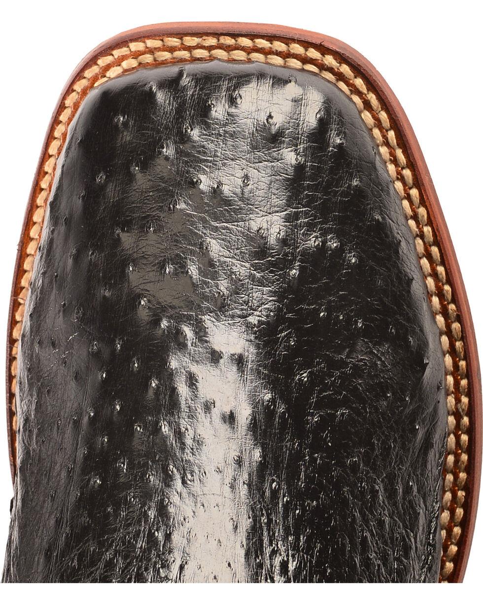 Dan Post Black Full Quill Ostrich Cowboy Boots - Square Toe, Black, hi-res