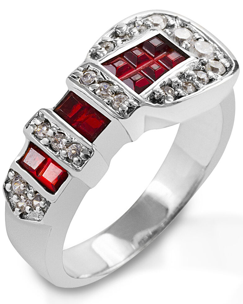 Kelly Herd Women's Red Ranger Style Buckle Ring, Silver, hi-res