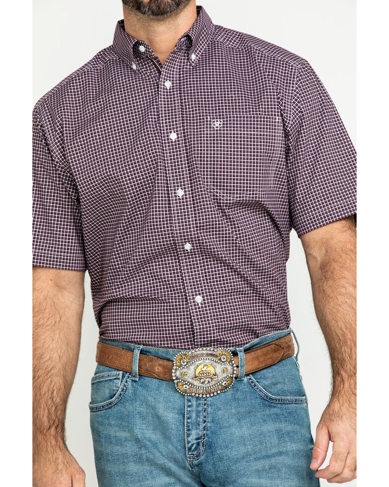 Ariat Men's Ladera Stretch Plaid Short Sleeve Western Shirt - Tall , Brown, hi-res