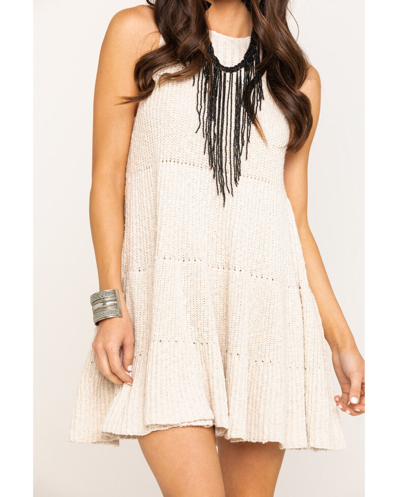 Free People Women's Waterfall Ruffle Dress, Oatmeal, hi-res