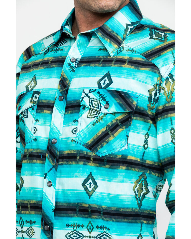 Rock & Roll Cowboy Men's Washed Aztec Print Long Sleeve Western Shirt , Teal, hi-res